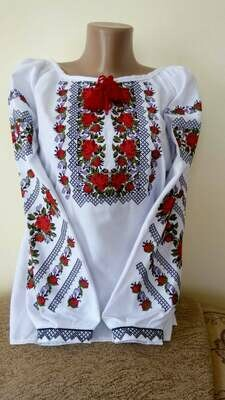 Вишиванка, жіноча вишивана блузка на домотканому полотні (Арт. 02870)