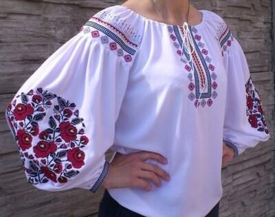 """Вишиванка, жіноча вишивана блузка на домотканому полотні """"Бохо"""" (Арт. 02878)"""