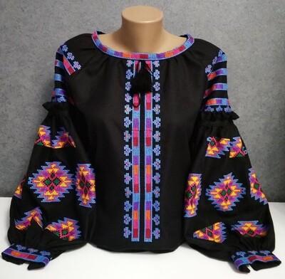 "Вишиванка, жіноча вишивана блузка на чорному домотканому ""Бохо"" (Арт. 02880)"