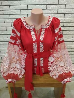 """Вишиванка, жіноча вишивана блузка на червоному льоні""""Бохо"""" (Арт. 02882)"""