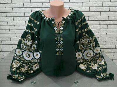 "Вишиванка, жіноча вишивана блузка на зеленому домотканому ""Бохо"" (Арт. 02883)"
