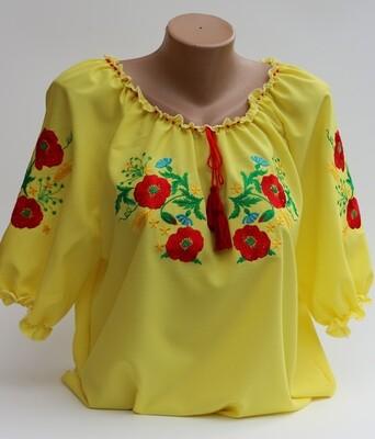 Вишиванка, жіноча вишивана блузка на жовтому шифоні (Арт. 02886)