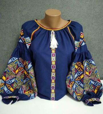 "Вишиванка, жіноча вишивана блузка на синьому домотканому ""Бохо"" (Арт. 02892)"