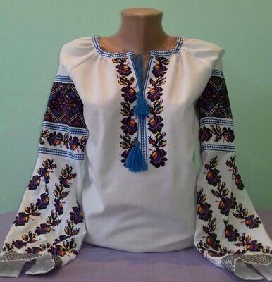 Вишиванка, жіноча вишивана блузка на домотканому полотні (Арт. 02893)