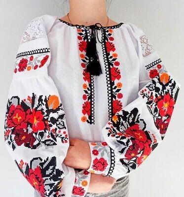 Вишиванка, жіноча вишивана блузка на домотканому полотні (Арт. 02894)