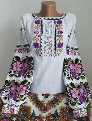 """Вишиванка, жіноча вишивана блузка на домотканому полотні """"Мережка"""" (Арт. 02896)"""