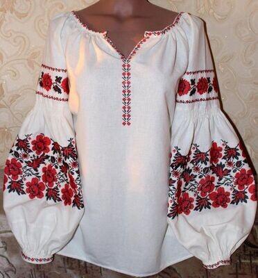 """Вишиванка, жіноча вишивана блузка на домотканому полотні """"Бохо"""" (Арт. 02900)"""