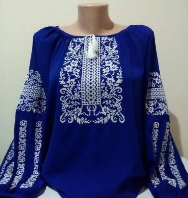 Вишиванка, жіноча вишивана блузка на синьому домотканому (Арт. 02903)