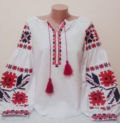 """Вишиванка, жіноча вишивана блузка на домотканому полотні """"Бохо"""" (Арт. 02901)"""