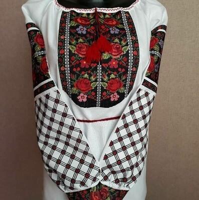 Вишиванка, жіноча вишивана блузка на домотканому полотні (Арт. 02906)