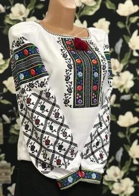 Вишиванка, жіноча вишивана блузка на домотканому полотні (Арт. 02905)