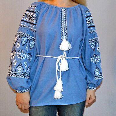 Вишиванка, жіноча вишивана блузка на блакитному домотканому (Арт. 02911)