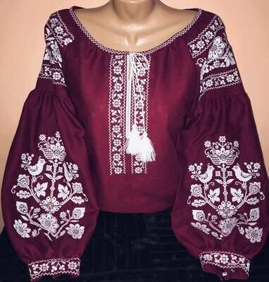 Вишиванка, жіноча вишивана блузка на вишневому домотканому (Арт. 02912)