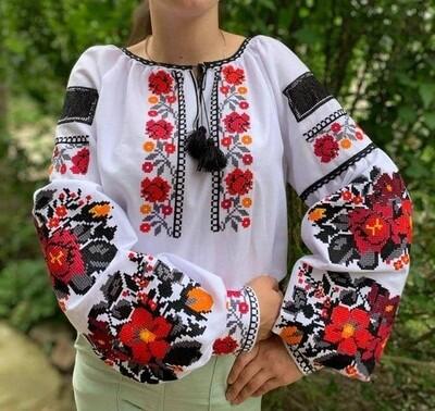 Вишиванка, жіноча вишивана блузка на домотканому полотні (Арт. 02922)