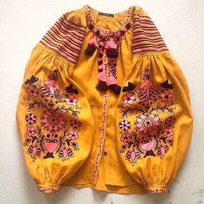 """Вишиванка, жіноча вишивана блузка на жовтому домотканому полотні """"Бохо"""" (Арт. 02925)"""