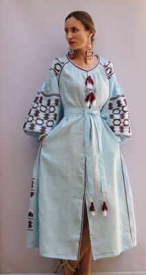 "Вишиванка, жіноча вишивана сукня ""Бохо"" з кишенями (Арт. 02926)"