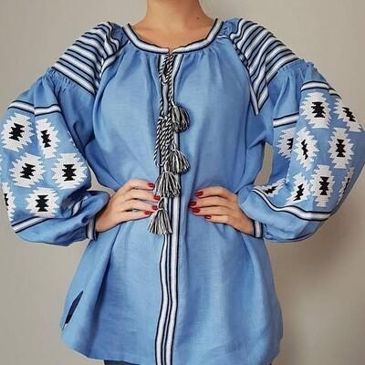 """Вишиванка, жіноча вишивана блузка на блакитному льоні """"Бохо"""" (Арт. 02930)"""