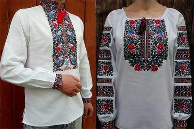 Пара вишиванок, жіноча та чоловіча вишиванка - комплект вишиванок для чоловіка і жінки (Арт. 02090)