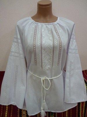Вишиванка, жіноча блузка вишита білим по білому (Арт. 02097)