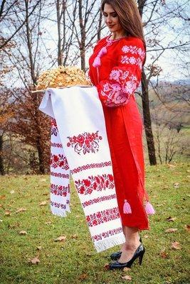 Рушник вишиваний  з квітами на домотканому полотні (Арт. 00408)