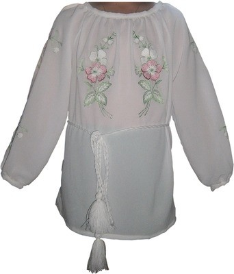 Вишивана блузка дитяча з квітами (Арт. 00319)