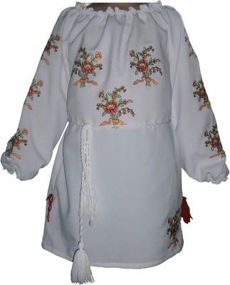 Вишивана блузка дитяча з квітами (Арт. 00320)