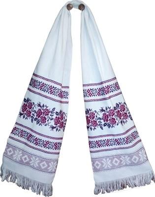 Рушник вишиваний  з квітами на домотканому полотні