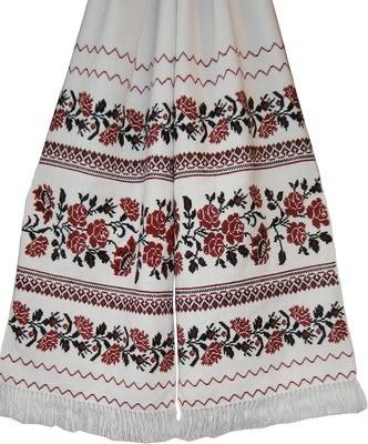 Рушник вишиваний  з квітами на домотканому полотні (Арт. 00409)