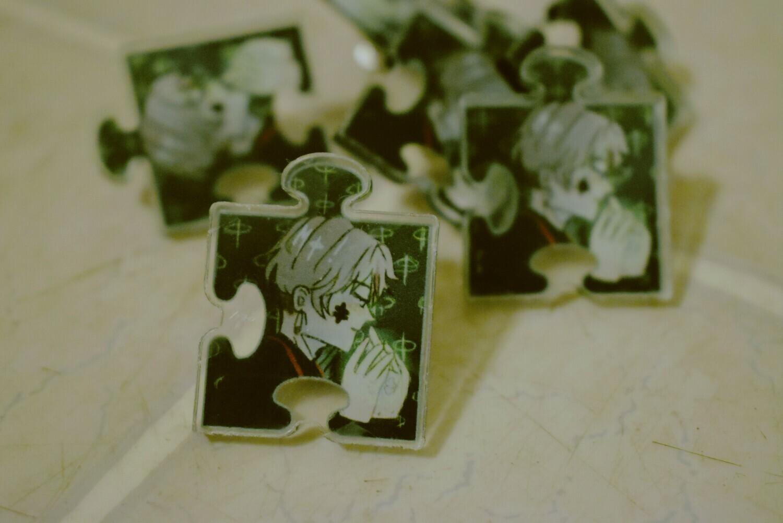 """found pieces"" acrylic pin"