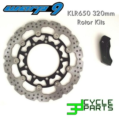 KLR650 1987-2007 Warp 9 Oversized Rotor Kit, Front 320mm w/ Bracket