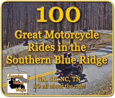 100 Rides in the Southern Blue Ridge - Full Size Map