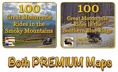 100 Smoky Rides & 100 Southern Blue Ride Rides Full Size Map Set