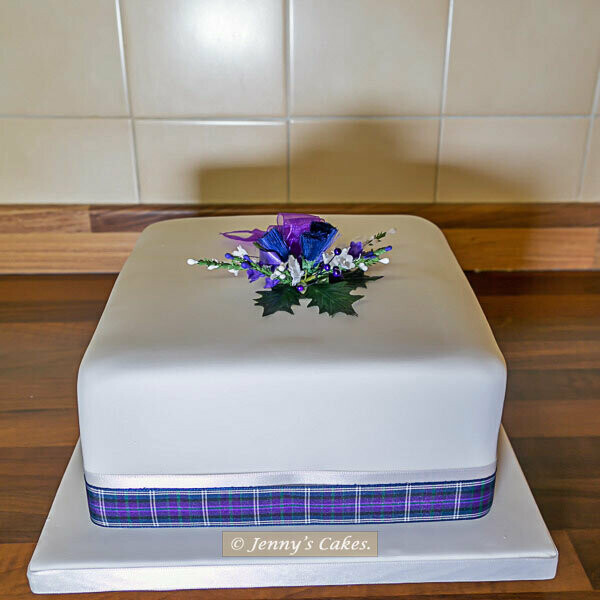 Gretna Single-tier Square Scottish Wedding Cake