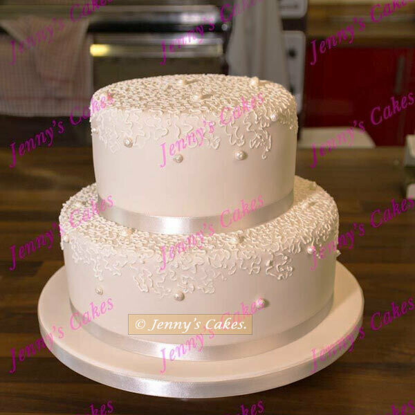 gretna two-tier cake with  Piped Pearls