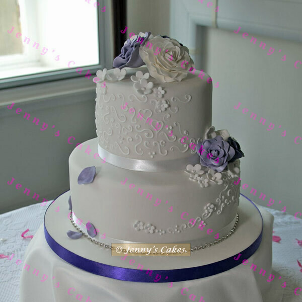 Gretna Two-tier Wedding Cake Piping and Sugar Rose Topper