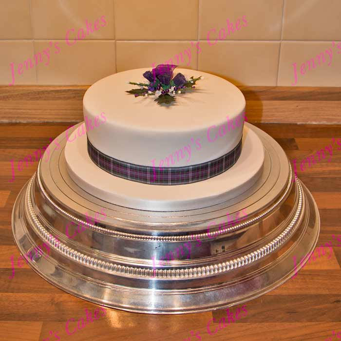 Gretna Single-tier Scottish Wedding Cake with Silk Topper