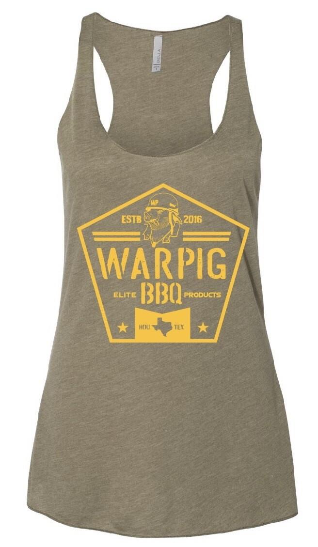 Ladies OD Green WarPig BBQ Tank