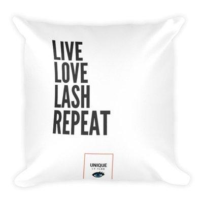 Square Pillow: Live Love Lash Repeat