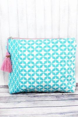 Moroccan Mint & Pink Tassel Cosmetic Bag