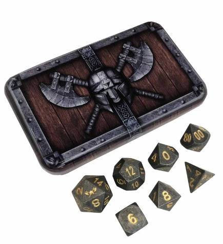 Industrial Gray Metal Dice w/ Gold Numbering & Chest (Hunger of the Ancients)