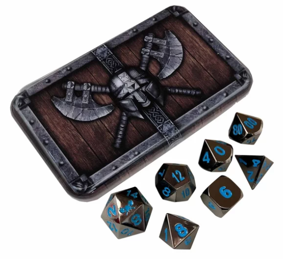 Shiny Black Metal Dice w/ Blue Numbering & Chest (Icy Doom)