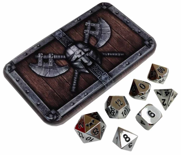 Chrome Silver Metal Dice w/ Black Numbering & Chest