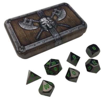 Shiny Black Metal Dice w/ Green Numbering & Chest (Black Dragon)