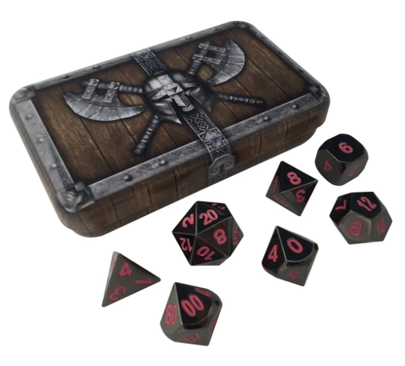 Shiny Black Metal Dice w/ Pink Numbering & Chest (Umbral Fae)