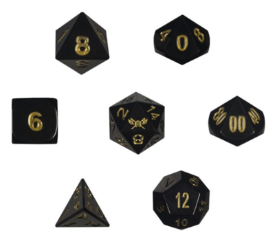 Shiny Black Metal Dice w/ Gold Numbering & Chest (Hope's Glimmer)