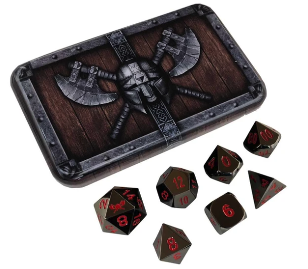Shiny Black Metal Dice w/ Red Numbering & Chest (Smoke & Fire)