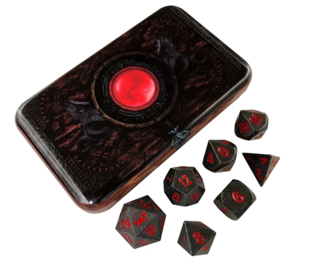 Industrial Gray Metal Dice w/ Red Numbering & Chest (Butcher's Bill)