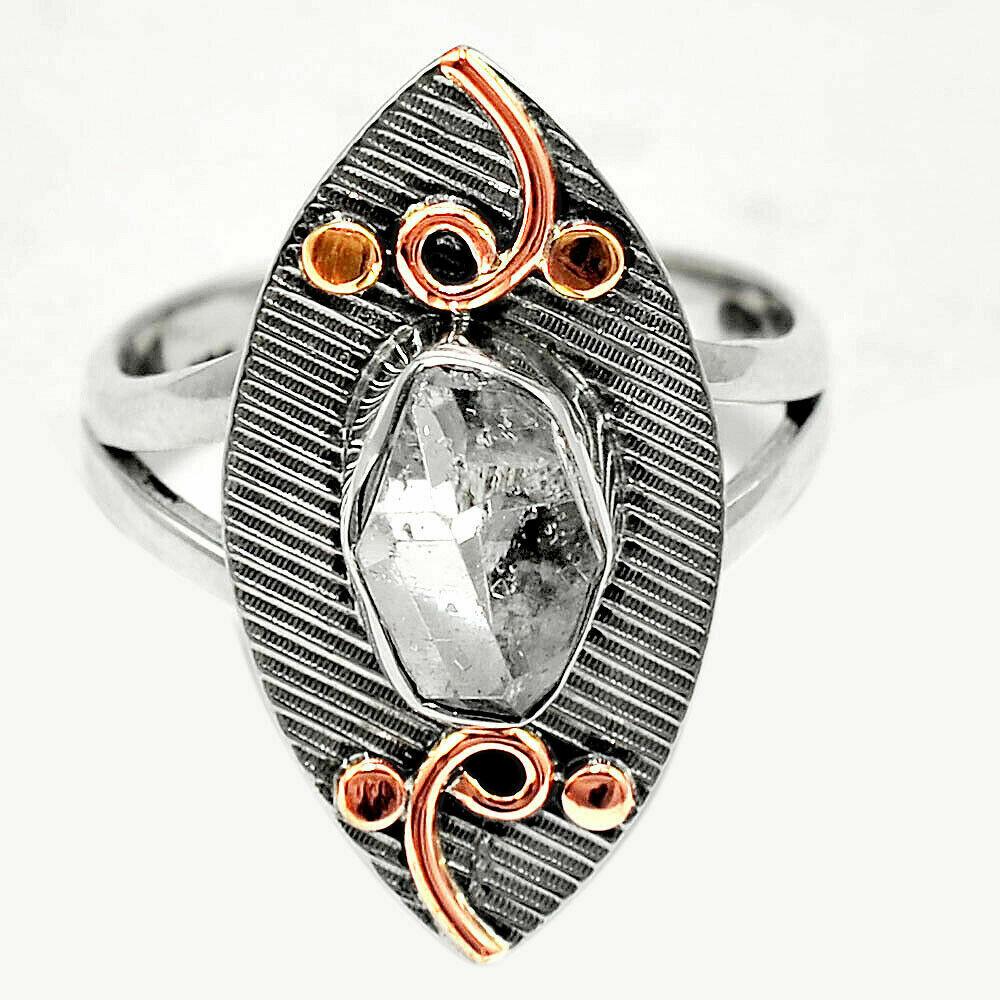 Herkimer Diamond 2-Tone Ring Size 7