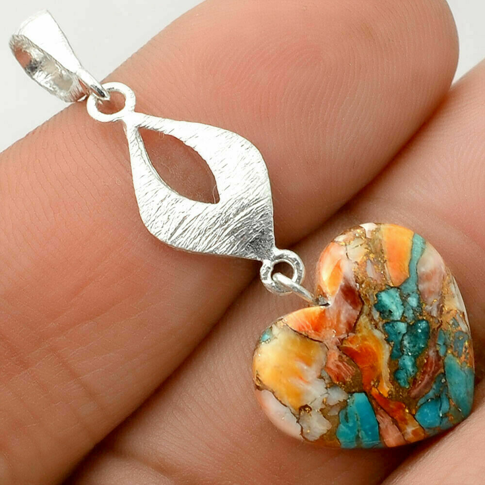 Spiney Oyster and Turquoise Pendant