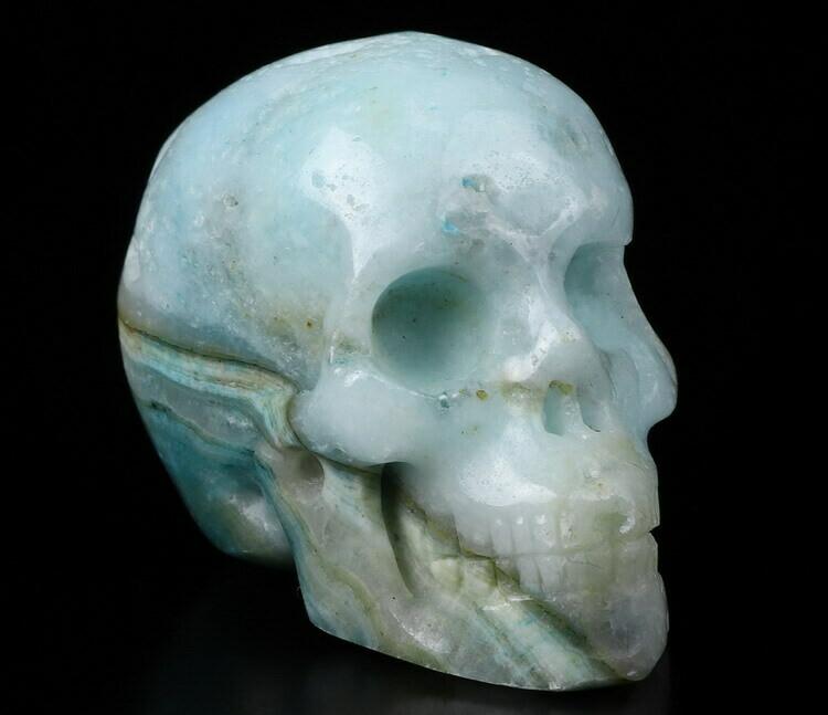 "Skull- Blue Aragonite 2"""